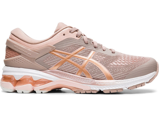 Asics Women's Gel-Kayano 26 Running Shoes in Fawn/Rose Gold