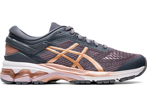 Asics Women's Gel-Kayano 26 (D) Running Shoes in Metropolis/Rose Gold
