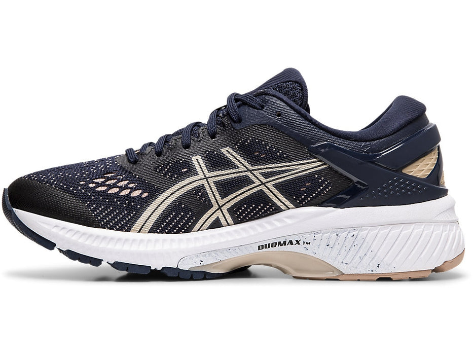 Asics Women's Gel-Kayano 26 (D) Running Shoes in Midnight/Frosted Almond - atr-sports