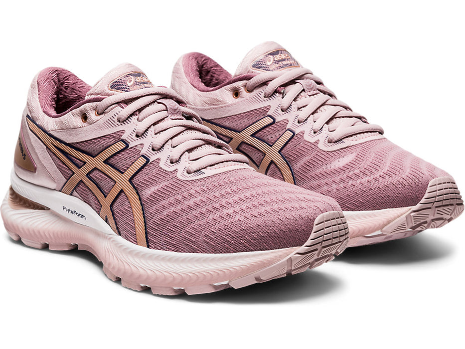 Asics Women's Gel-Nimbus 22 Running Shoes in Watershed Rose/Rose Gold