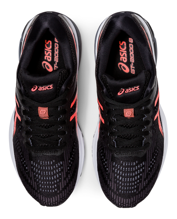 Asics Women's GT-2000 8 (D) Wide Running Shoes in Black/Sunrise Red
