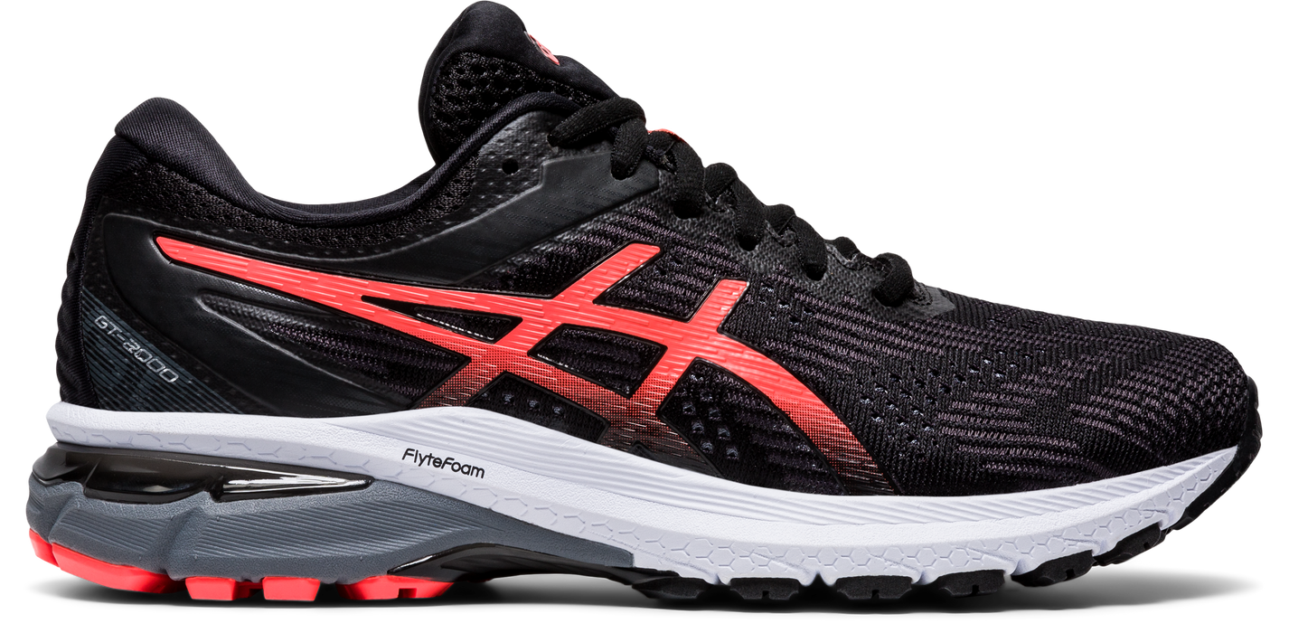 Asics Women's GT-2000 8 Running Shoes in Black/Sunrise Red