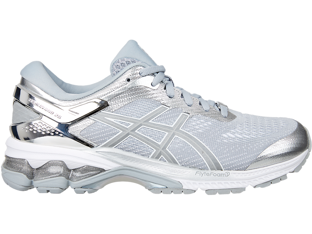 Asics Women's Gel-Kayano 26 Platinum Running Shoes in Piedmont Grey/Silver - atr-sports