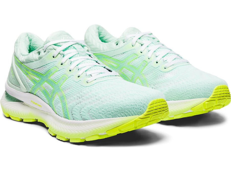 Asics Women's Gel-Nimbus 22 Modern Tokyo Running Shoes in Mint Tint/Safety Yellow