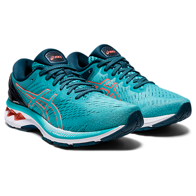 Asics Women's Gel-Kayano 27 Running Shoes in Techno Cyan/Sunrise Red