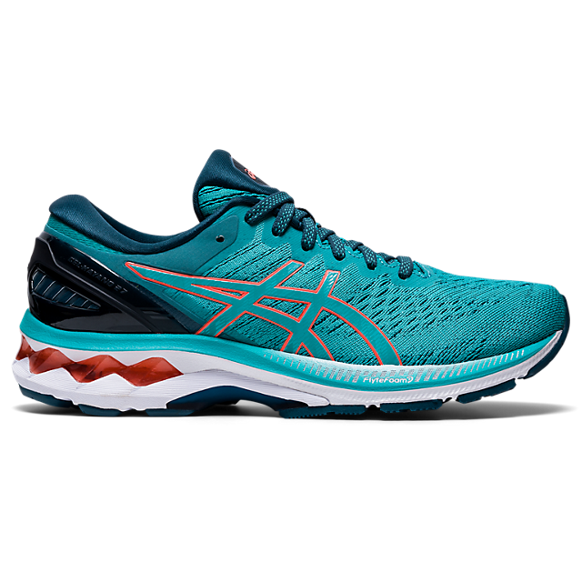 Asics Women's Gel-Kayano 27 D Running Shoes in Techno Cyan/Sunrise Red