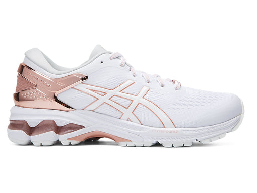 Asics Women's Gel-Kayano 26 Platinum Running Shoes in White/Rose Gold