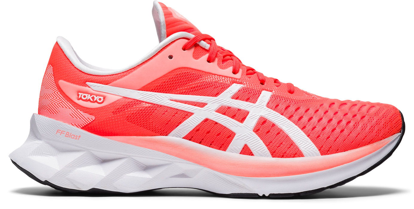 Asics Women's Novablast Tokyo Running Shoes in Sunrise Red/White