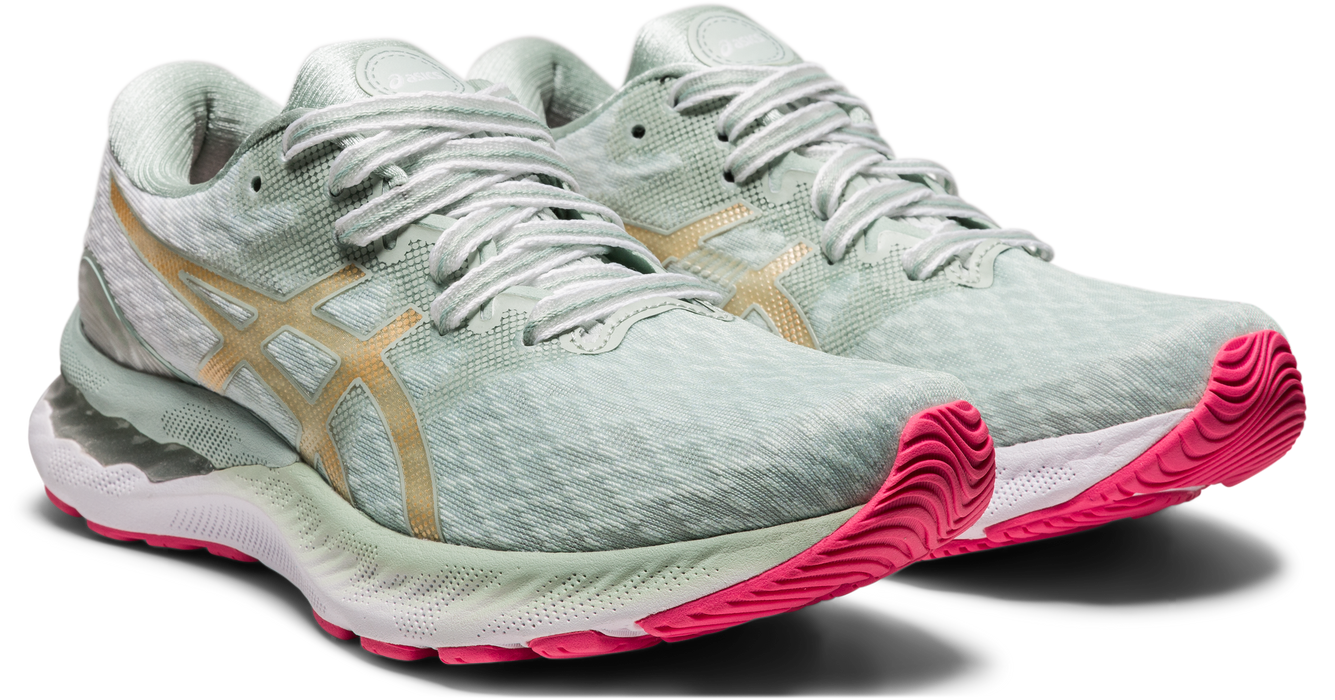 Asics Women's Gel-Nimbus 23 New Strong Running Shoes in Lichen Rock/ Champagne