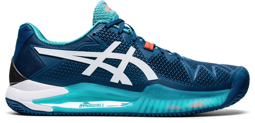Asics Men's Gel-Resolution 8 Clay Tennis Shoes in Mako Blue/White