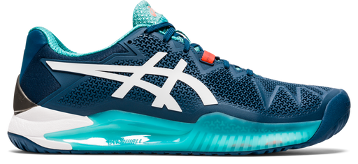 Asics Men's Gel-Resolution 8 Tennis Shoes in Mako Blue/White