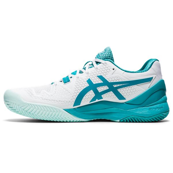 ASICS Women's Gel-Resolution 8 Clay Tennis Shoes in White/Lagoon