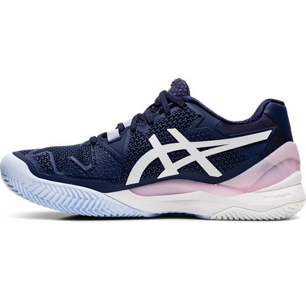 ASICS Women's Gel-Resolution 8 Clay Tennis Shoes in Peacoat/White