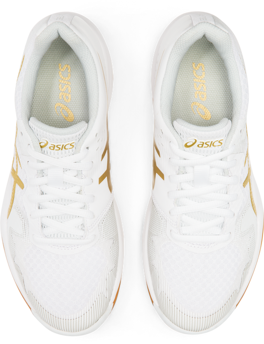 Asics Women's Gel-Tactic Indoor Court Shoes in White/Rich Gold