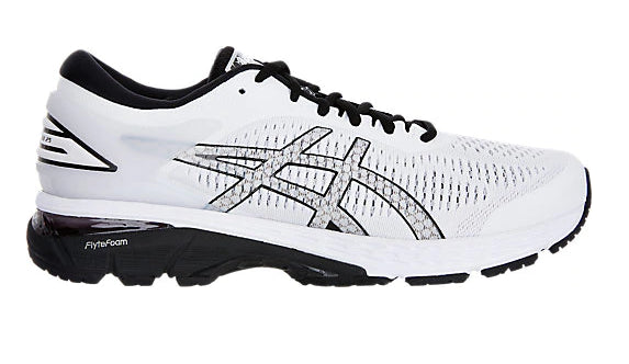 Asics Men's GEL-KAYANO 25 White/Black Running Shoes - atr-sports