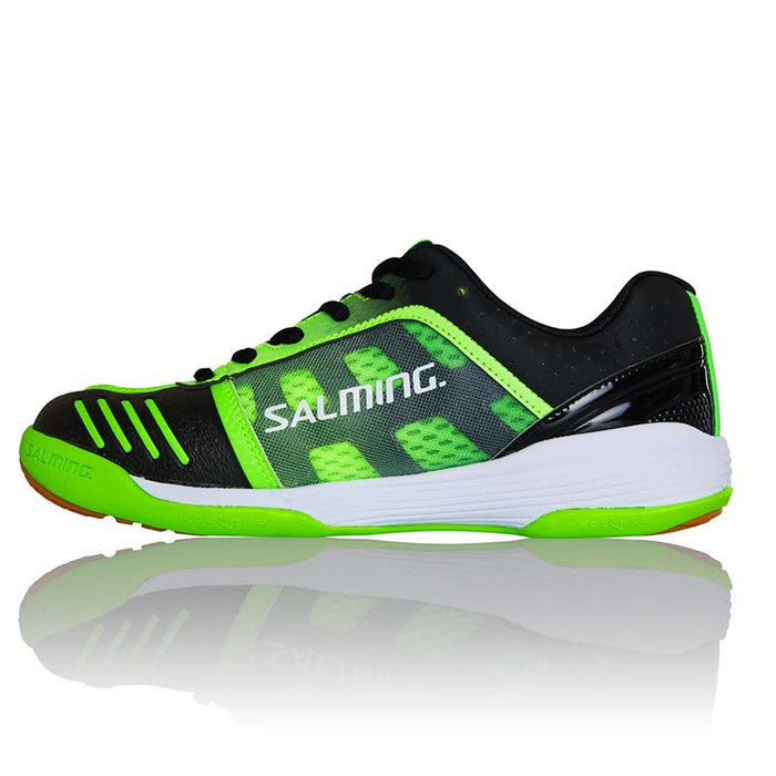 Salming Kid's Falco Indoor Court Shoes in Fluro Green/Black - atr-sports