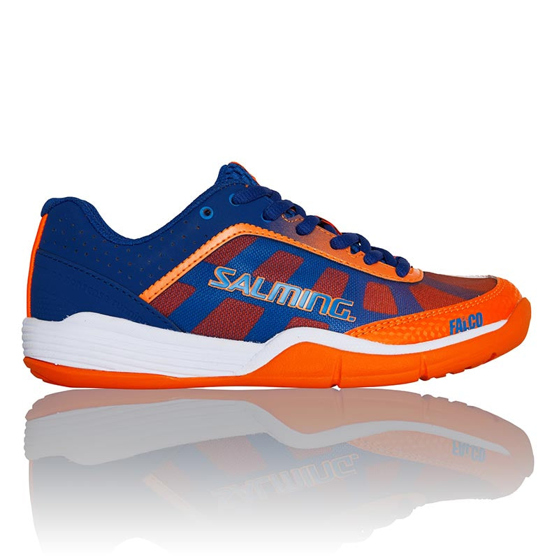 Salming Kid's Falco Indoor Court Shoes in Blue/Orange - atr-sports