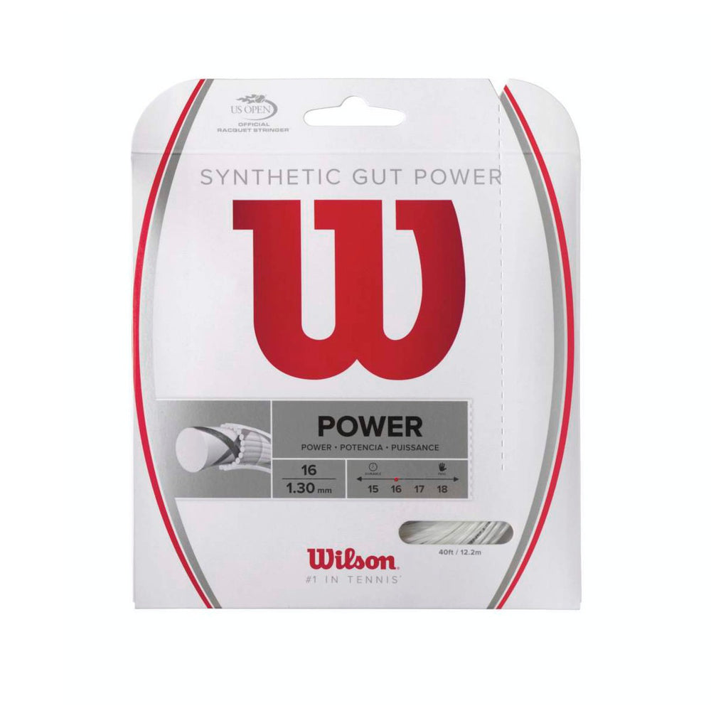 Wilson Synthetic Gut Power White Tennis String 16 Set - atr-sports