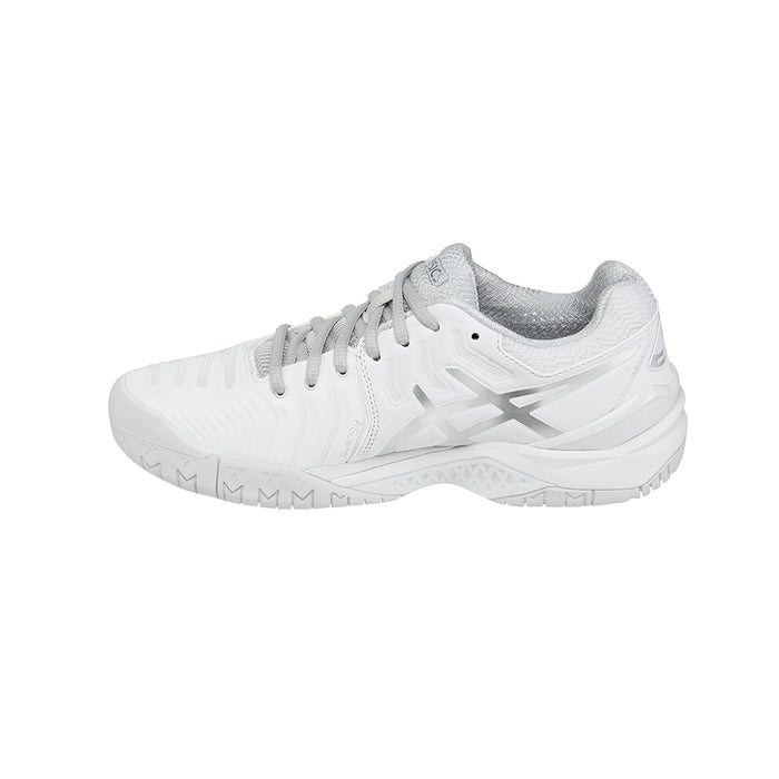 Asics Women's Gel-Resolution 7 Tennis Shoes in White/Silver - atr-sports