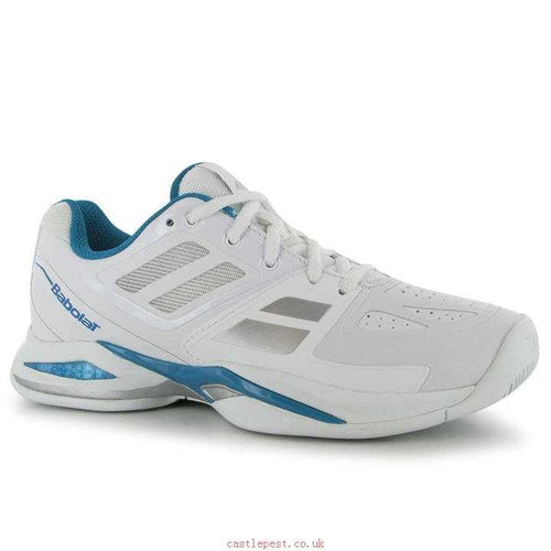 Babolat Women's V-Pro Tennis Shoes in White/Blue/Silver-ATR Sports