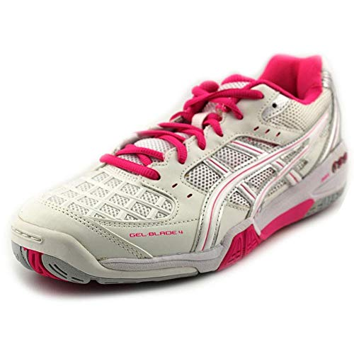 Asics Women's Gel-Blade 4 Indoor Court Shoes in White/Pink/Lighting - ATR Sports