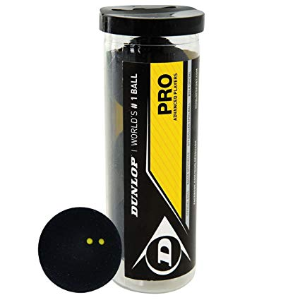 Dunlop Pro Squash 3 Ball Tube - Double Yellow - atr-sports