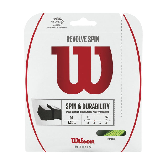 Wilson Revolve Spin Green Tennis String 16 Set - atr-sports