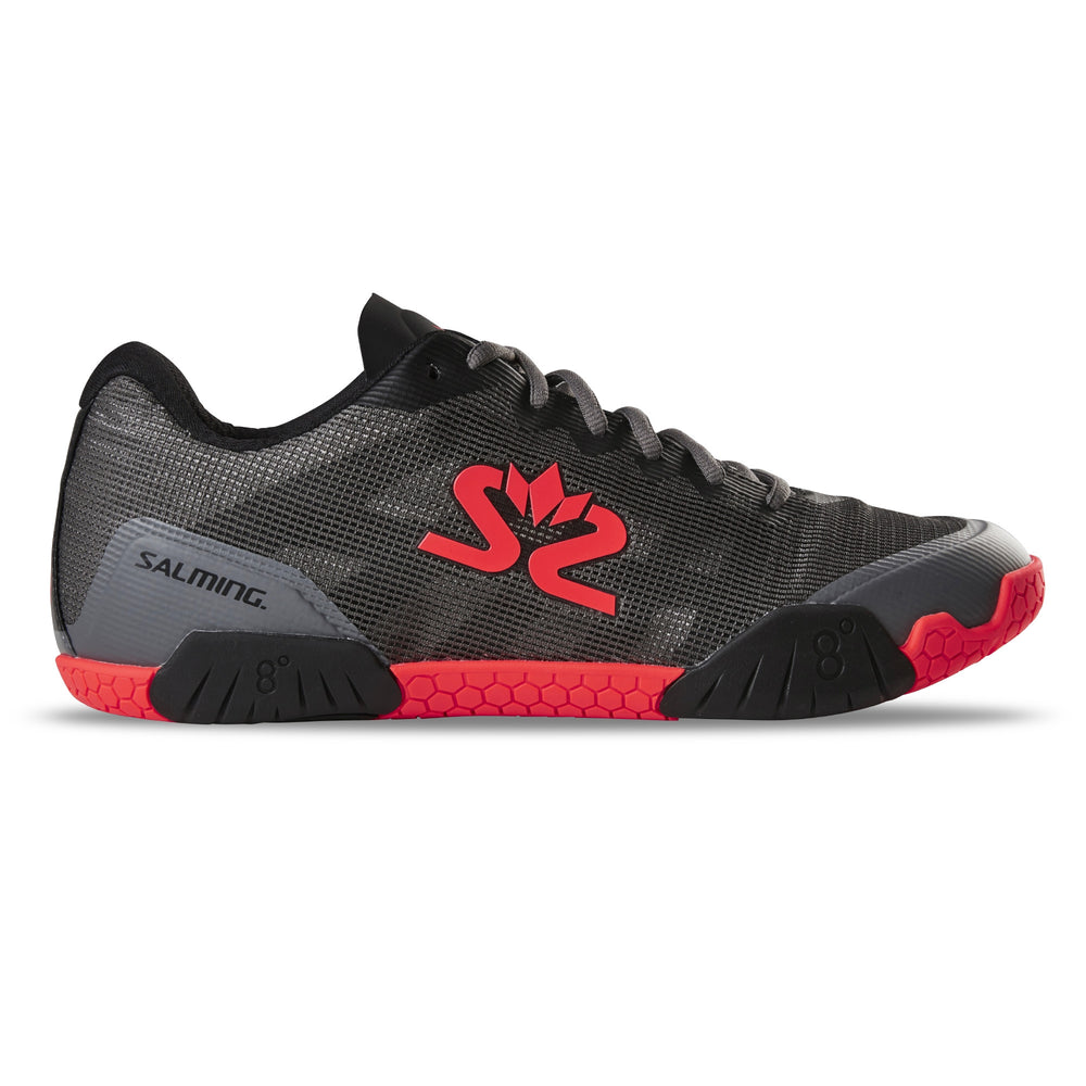 Salming Men's Hawk Indoor Court Shoes 2019 (Gunmetal/Lava Red)