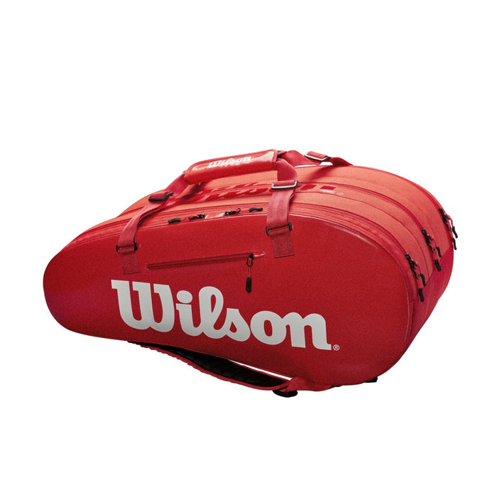 Wilson Super Tour 3 Compartment Racquet Bag in Infared - atr-sports