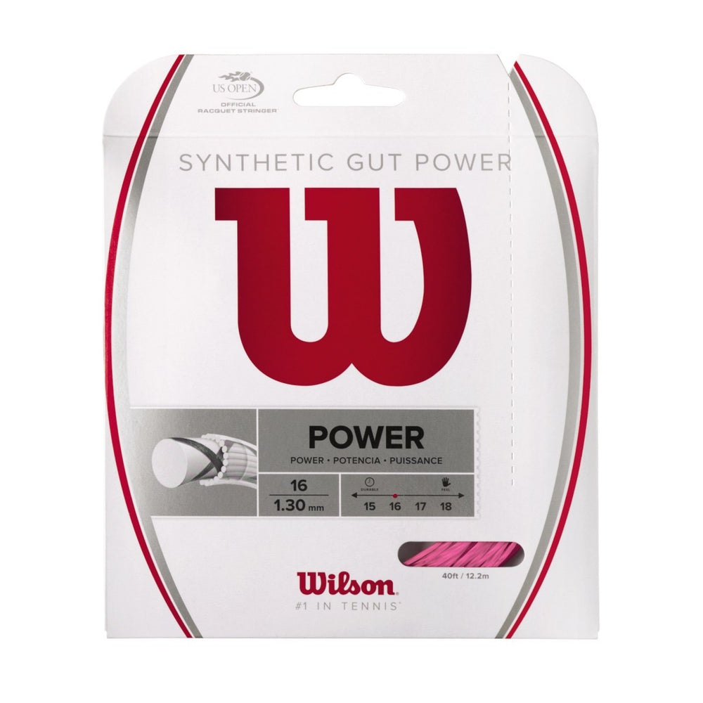 Wilson Synthetic Gut Power Pink Tennis String 16 Set - atr-sports
