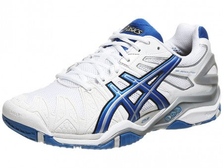 Asics Men's Gel-Resolution 5 Grass Court Tennis Shoes in White/Royal Blue/Lightning - atr-sports