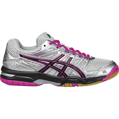 Asics Women's Gel-Rocket 6 Indoor Court Shoes in Silver/Black/Pink - atr-sports