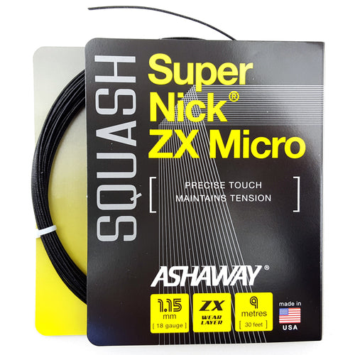 Ashaway Supernick ZX Micro 18 Squash String Set - Black - atr-sports