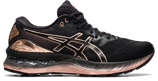 Asics Women's Gel-Nimbus 23 Platinum Running Shoes in Black/Rose Gold