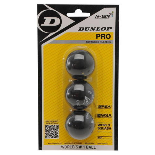 Dunlop 3-Pack Double Yellow Squash Balls - atr-sports