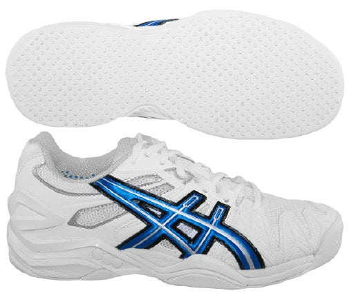 Asics Women's Gel-Resolution 5 Grass Court Tennis Shoes in White/Royal Blue/Lightning