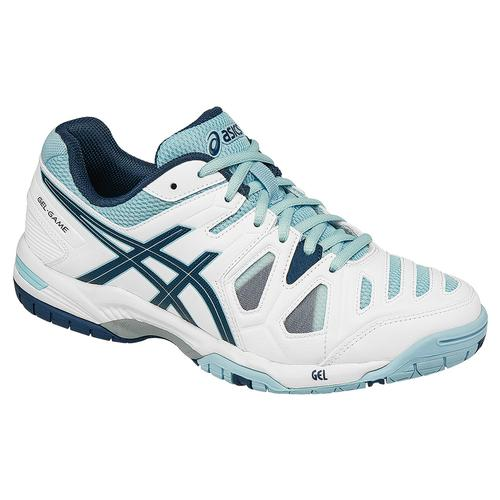 Asics Women's Gel-Game 5 Tennis Shoes in White/Blue Steel/Crystal Blue - atr-sports