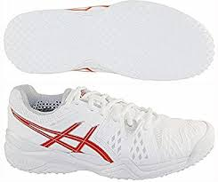 Asics Women's Gel-Resolution 5 Grass Court Tennis Shoes in White/Hibiscus/Silver