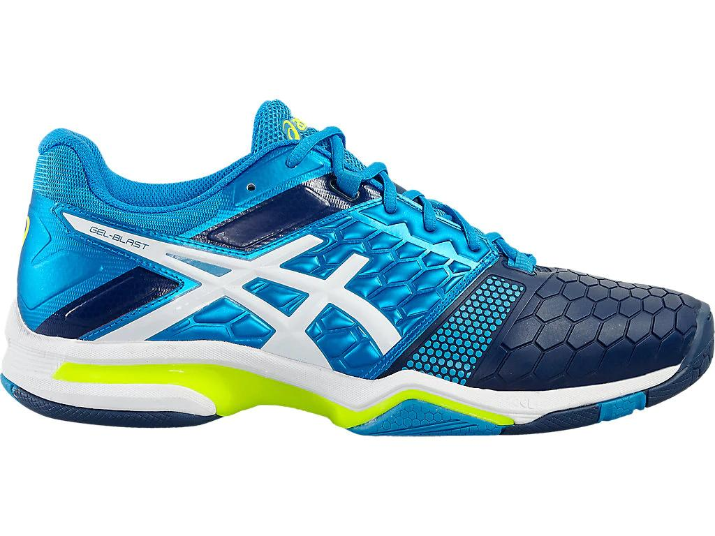 imágenes detalladas materiales superiores zapatos exclusivos Asics Men's Gel-Blast 7 Indoor Court Shoes in Blue Jewel/White ...