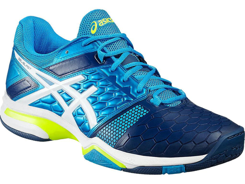 Asics Men's Gel-Blast 7 Indoor Court Shoes in Blue Jewel/White/Safety Yellow - atr-sports