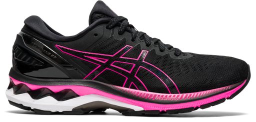 Asics Women's Gel-Kayano 27 Running Shoes in Black/Pink Glo