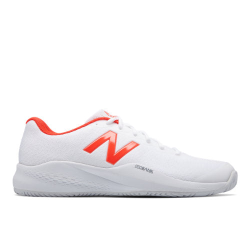New Balance Men's 996 V3 Tennis Shoes in White/Neo Flame