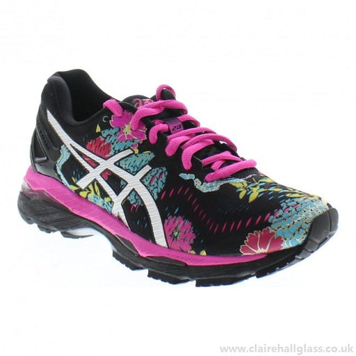 outlet store d95f6 40767 Asics Women s Gel-Kayano 23 Running Shoes in Black Silver Pink Glow -