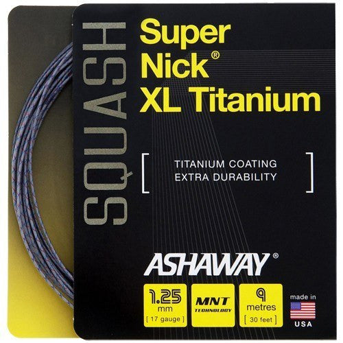 Ashaway Supernick XL Titanium 17 Squash String Set - Grey/Red/Blue - atr-sports