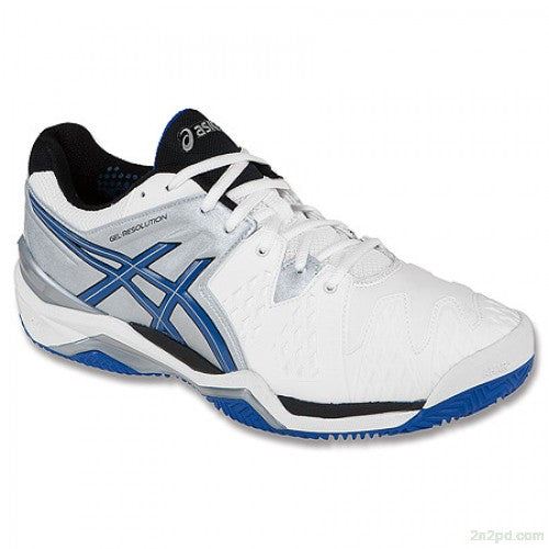 Asics Men's Gel-Resolution 6 Clay Tennis Shoes in White/Blue/Silver