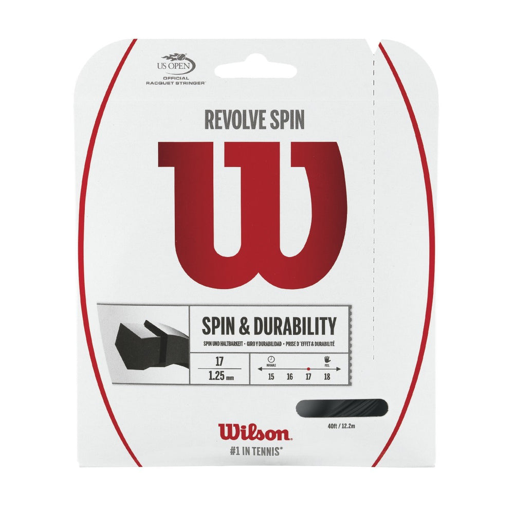 Wilson Revolve Spin Black Tennis String 17 Set - atr-sports