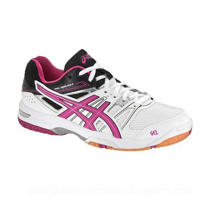 4a88f7d0fd51 Asics Women s Gel-Rocket 7 Indoor Court Shoes in White Magenta Black ...