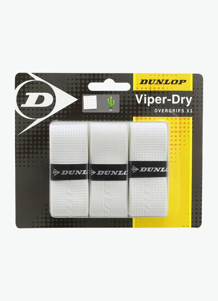 Dunlop Viper-dry Overgrip 3 Pack White - atr-sports