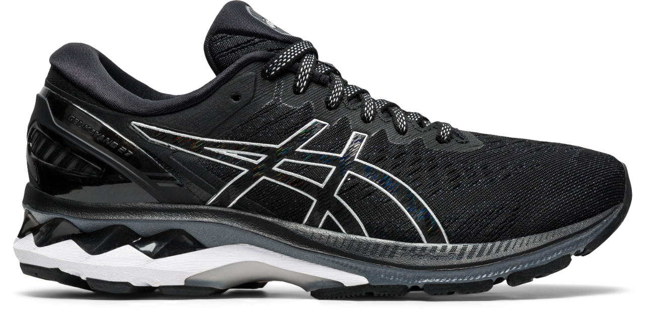 Asics Men's Gel-Kayano 27 (2E WIDE) Running Shoes in Black/Pure Silver