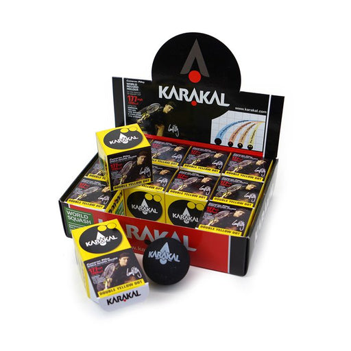 Karakal Double Yellow Dot Squash Balls (1 Dozen) - atr-sports
